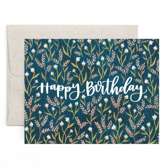 blue floral fern happy birthday greeting card