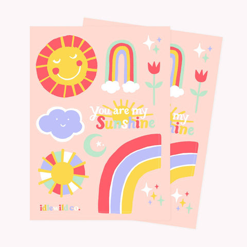 sunshine rainbow cloud sticker sheet