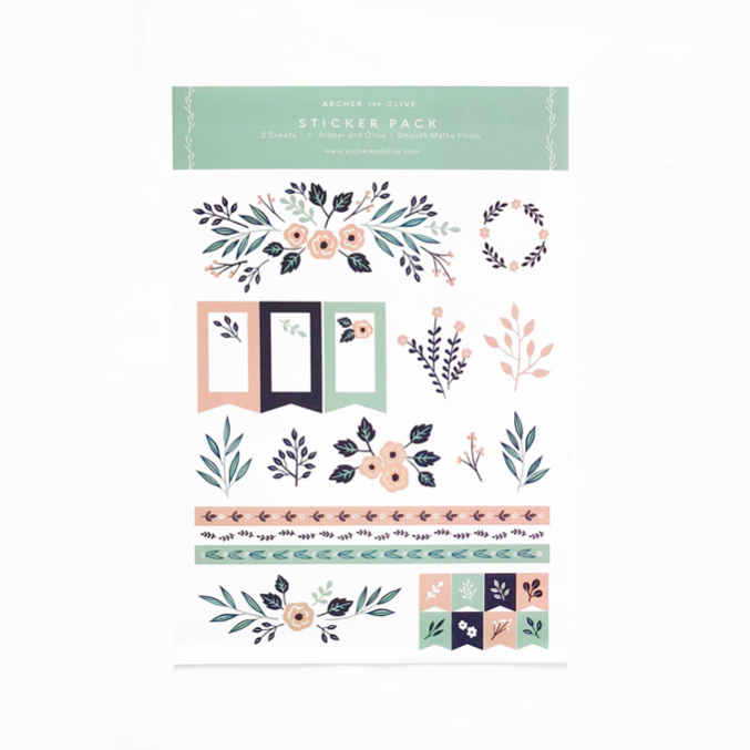 Floral Planner Stickers | 2 Sheets