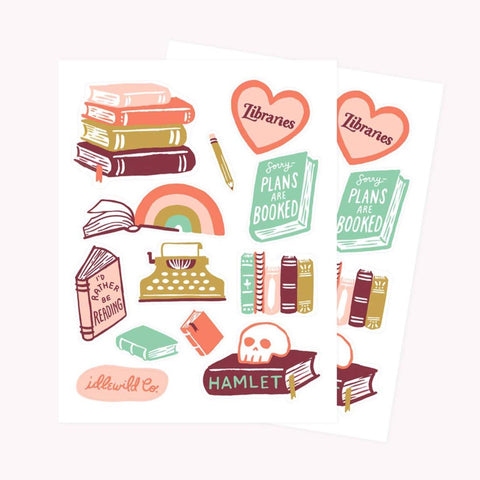 pink book bibliophile sticker sheets