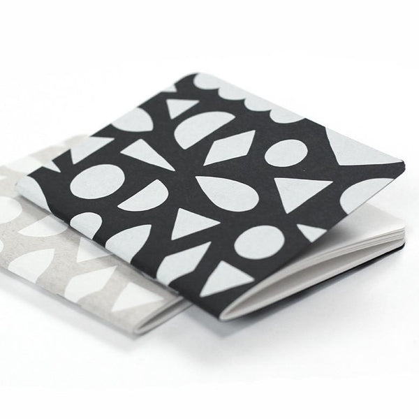 black white geometric shape pocket notebook