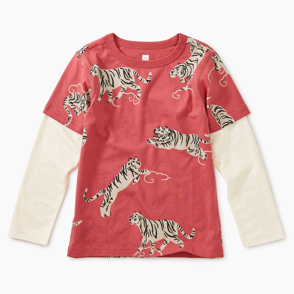Tigers And Clouds Tee, Tea - Joanna's Cuties
