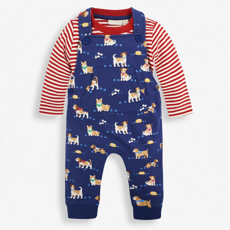 2-Piece Puppy Print Baby Dungarees Set