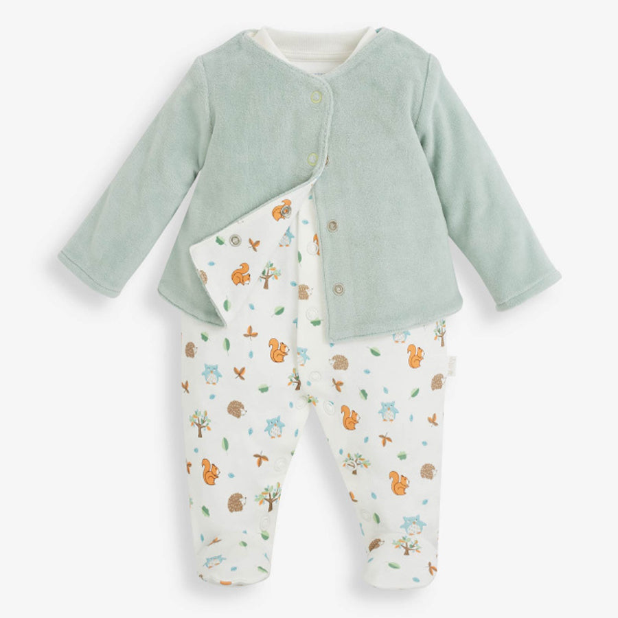 2 Piece Woodland Baby Jacket & Sleepsuit Set-JoJo Maman Bebe-Joanna's Cuties