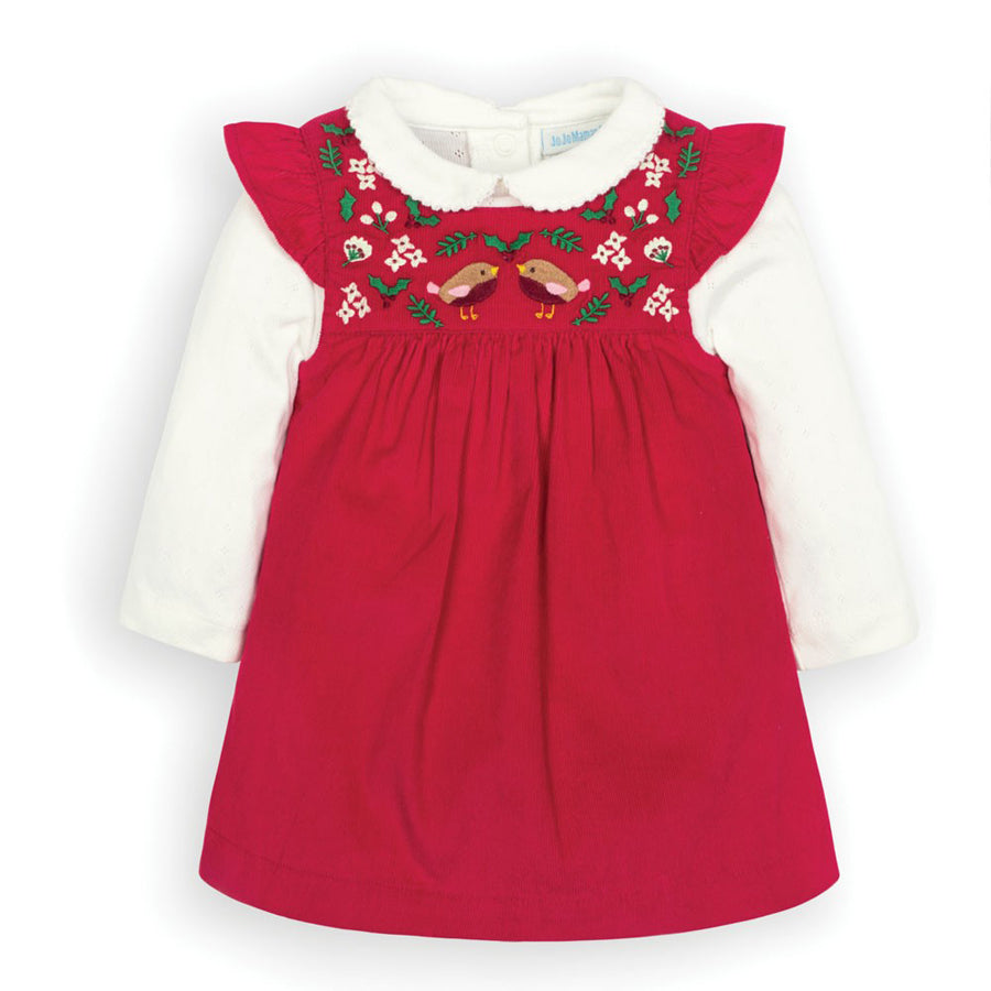 2-Piece Red Robin Cord Baby Dress Set-JoJo Maman Bebe-Joanna's Cuties