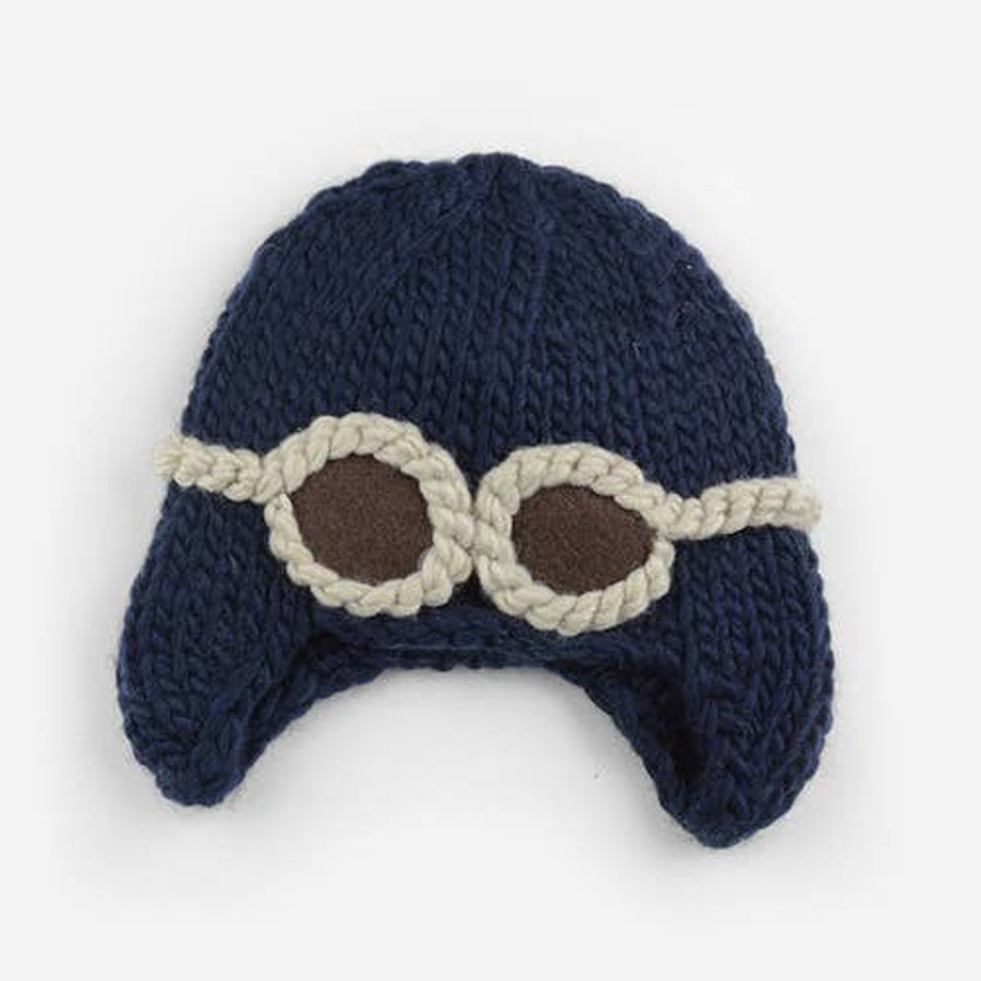 Wilbur Aviator With Goggles Knit Hat - Navy-The Blueberry Hill-Joanna's Cuties
