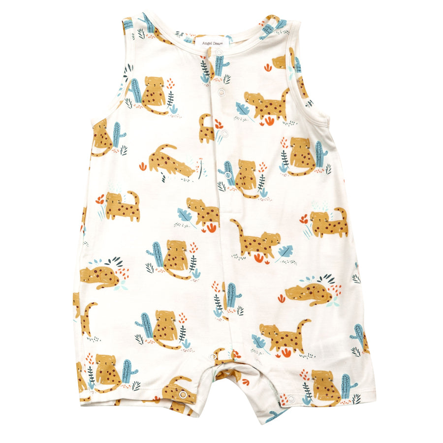 Cheetah Sleeveless Shortie Romper-Angel Dear-Joanna's Cuties