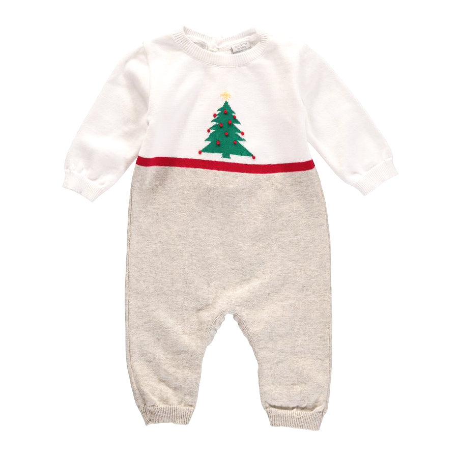 White Christmas Knitted Romper-Carriage Boutique-Joanna's Cuties