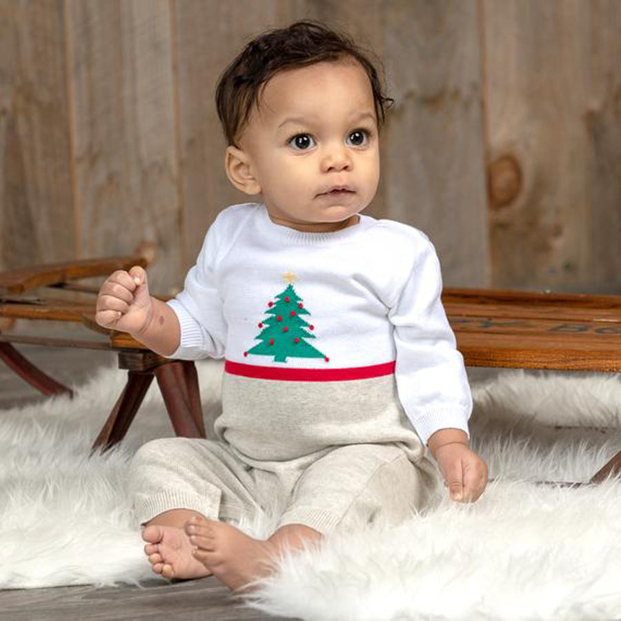 White Christmas Knitted Romper - Carriage Boutique - joannas-cuties