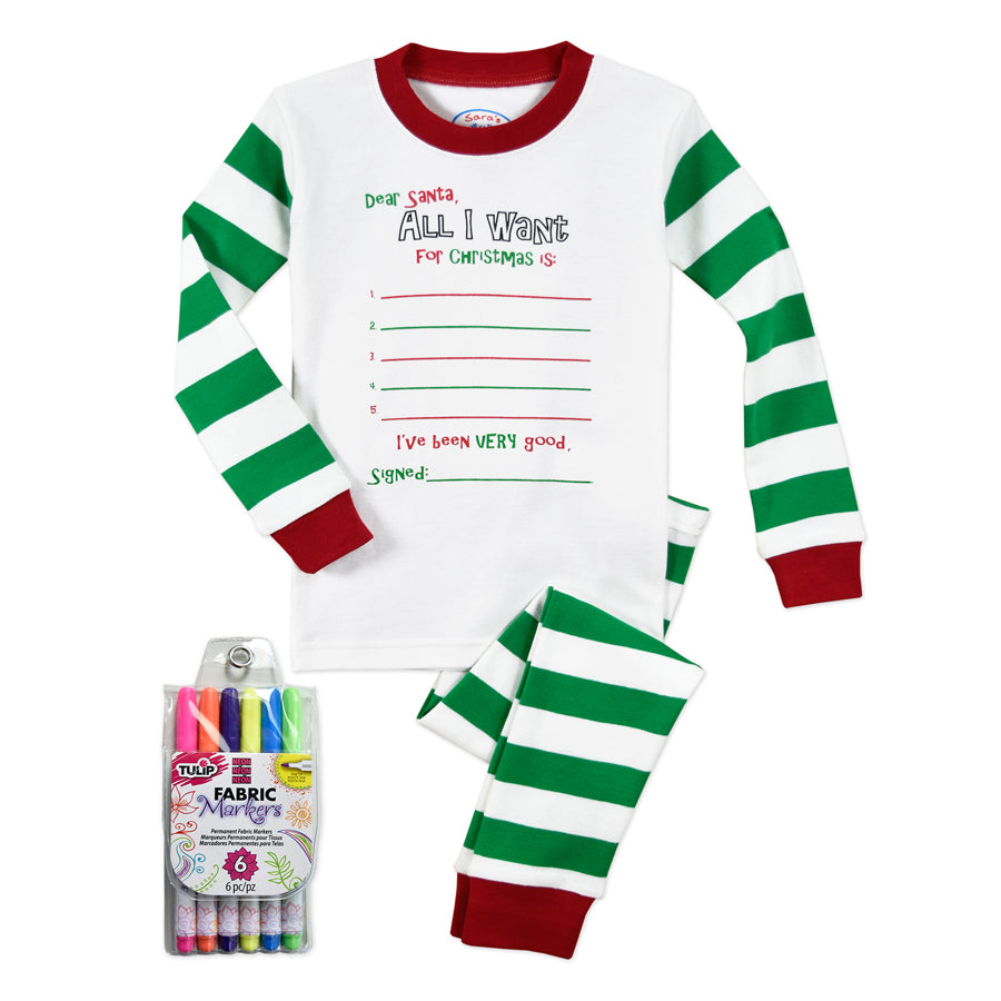 Color Me Pjs Set With Markers - All I Want - Sara's Prints - joannas-cuties