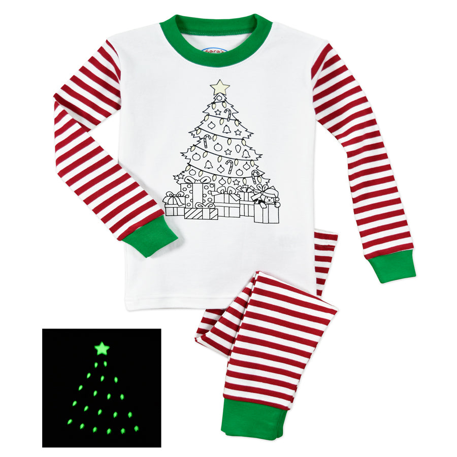 Color Me Pjs Set - Christmas Tree with Markers-Sara's Prints-Joanna's Cuties