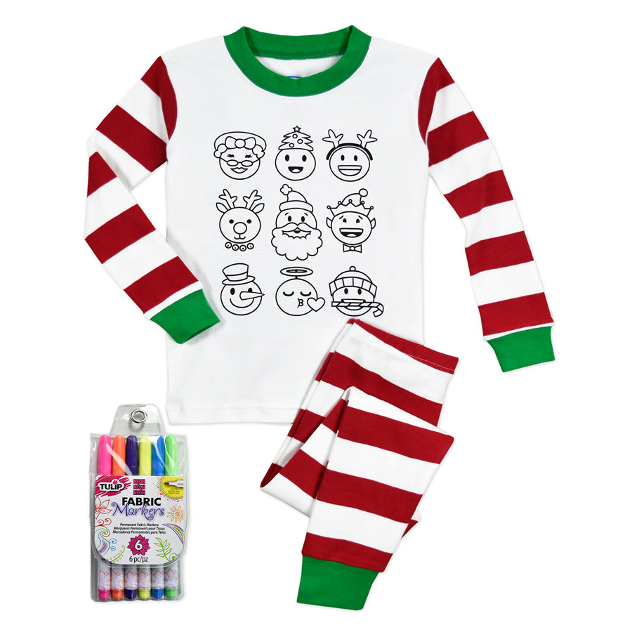 Color Me Pjs Set With Markers - Emoji - Sara's Prints - joannas-cuties