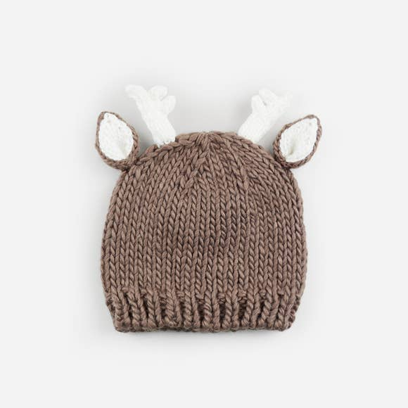 Hartley Deer Tan Knit Hat-The Blueberry Hill-Joanna's Cuties