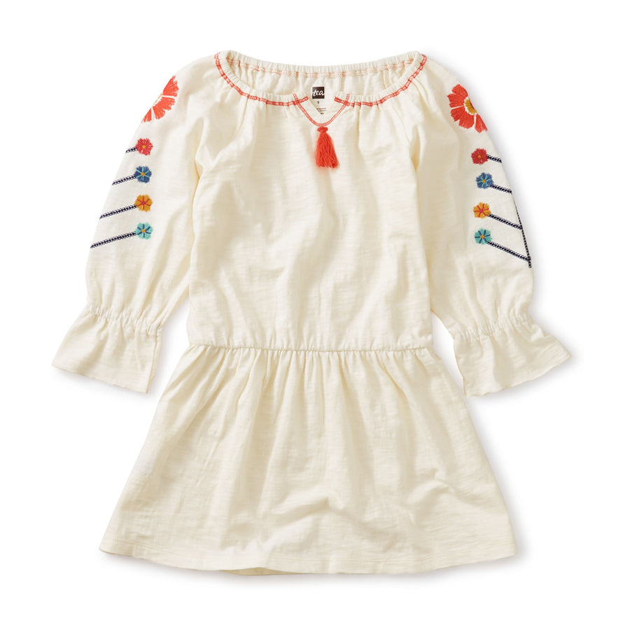 Embroidered Tassel Trim Dress-Tea-Joanna's Cuties