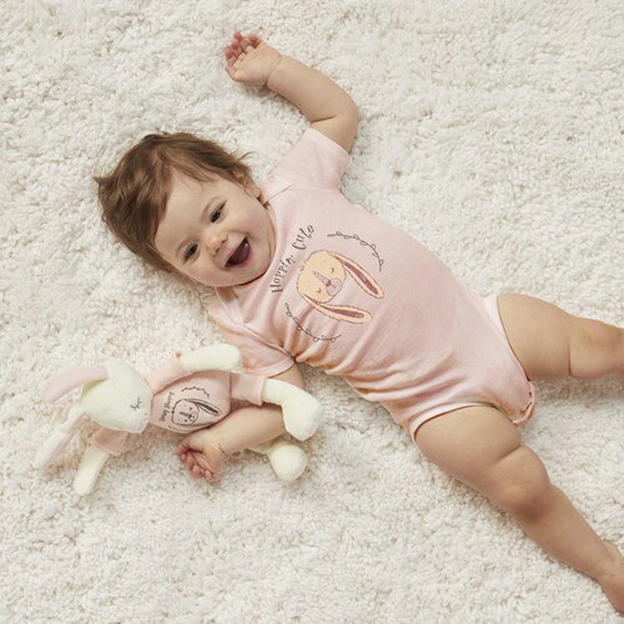 Hoppin' Cute Bunny Snuggle Buddy Onesie and Plush Toy Set-Demdaco-Joanna's Cuties