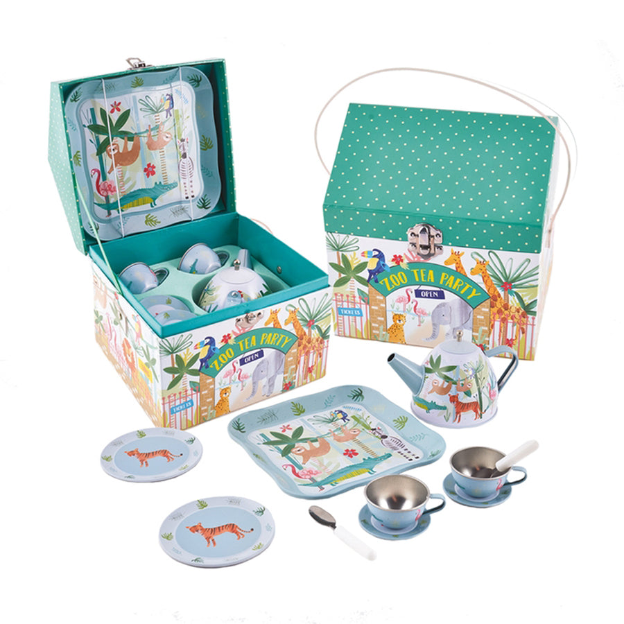 Jungle Tin Tea Set In House Case-Floss & Rock-Joanna's Cuties