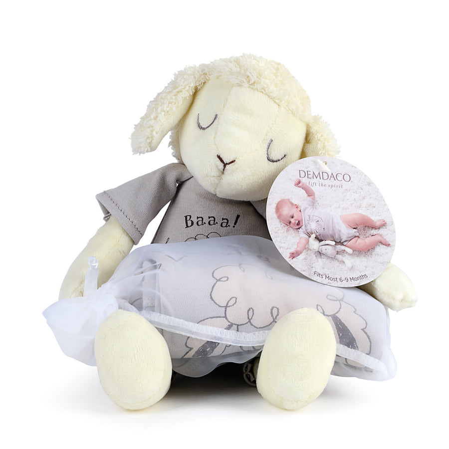 Little Lamb Snuggle Buddy Onesie and Plush Toy Set-Demdaco-Joanna's Cuties