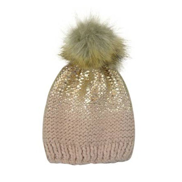 Cream and Gold Pom Pom Hat - The Blueberry Hill - joannas-cuties