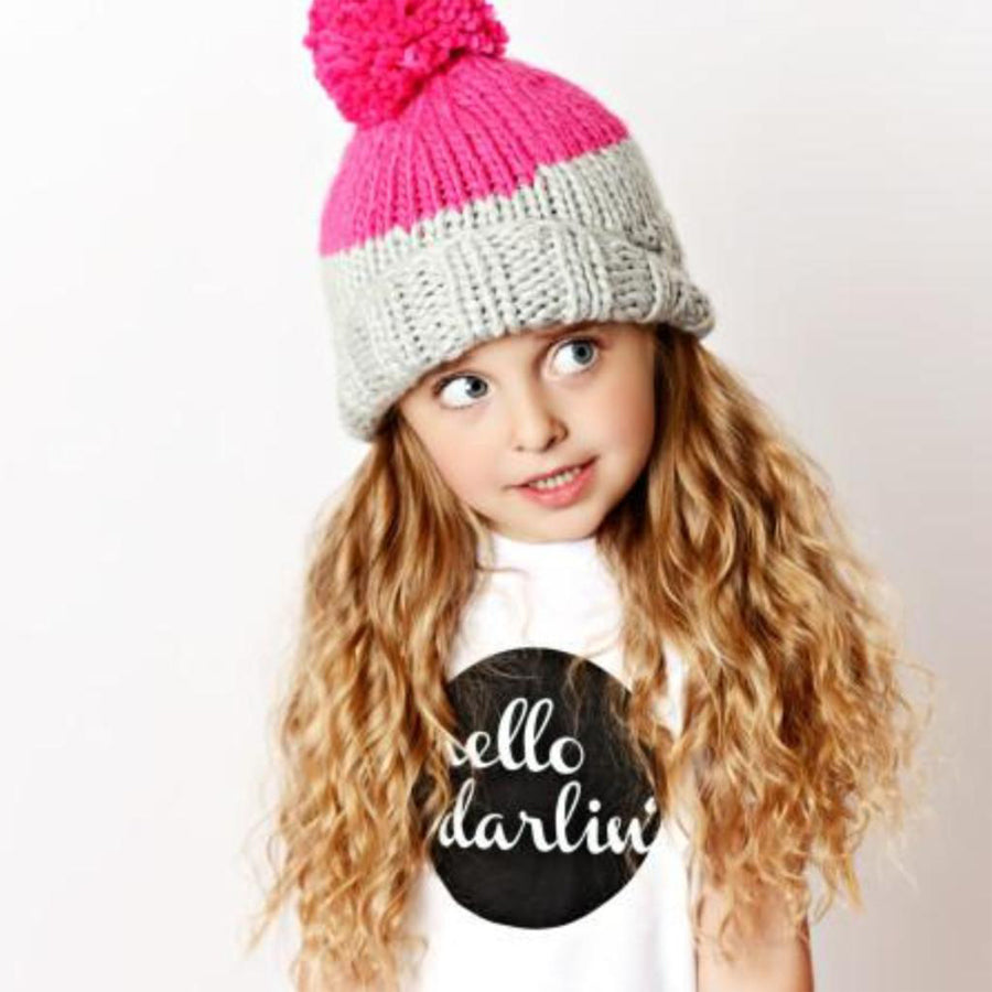 Millie Knit Hat -Grey/Pink - The Blueberry Hill - joannas-cuties