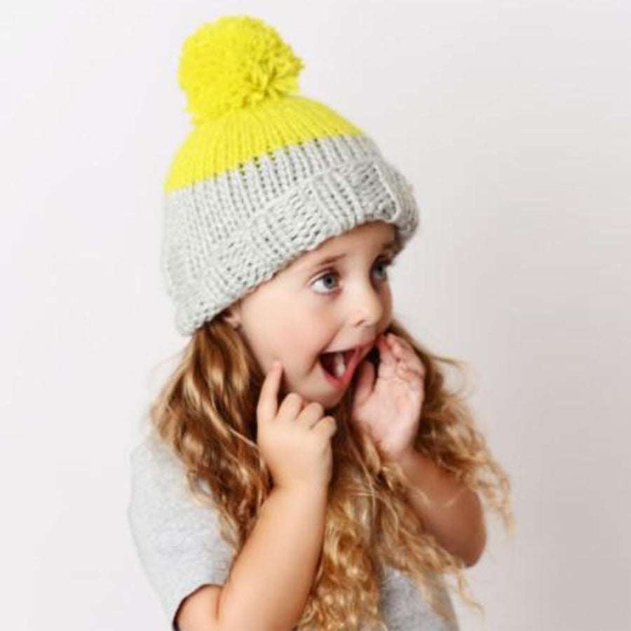 Millie Knit Hat -Grey/Yellow - The Blueberry Hill - joannas-cuties