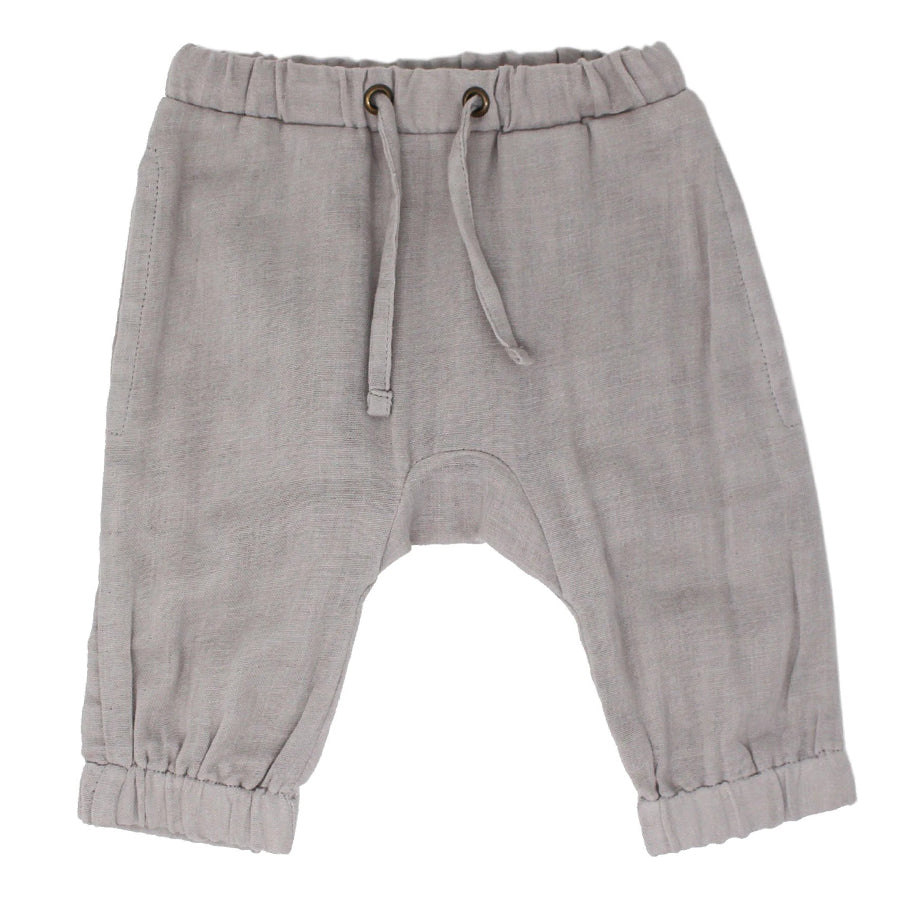 Organic Muslin Harem Pants in Cloud-L'ovedbaby-Joanna's Cuties