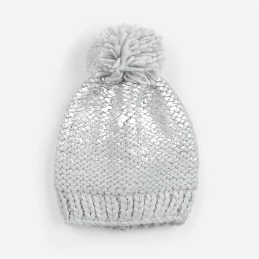Pearl Metallic Knit Hat, Grey / Silver-The Blueberry Hill-Joanna's Cuties