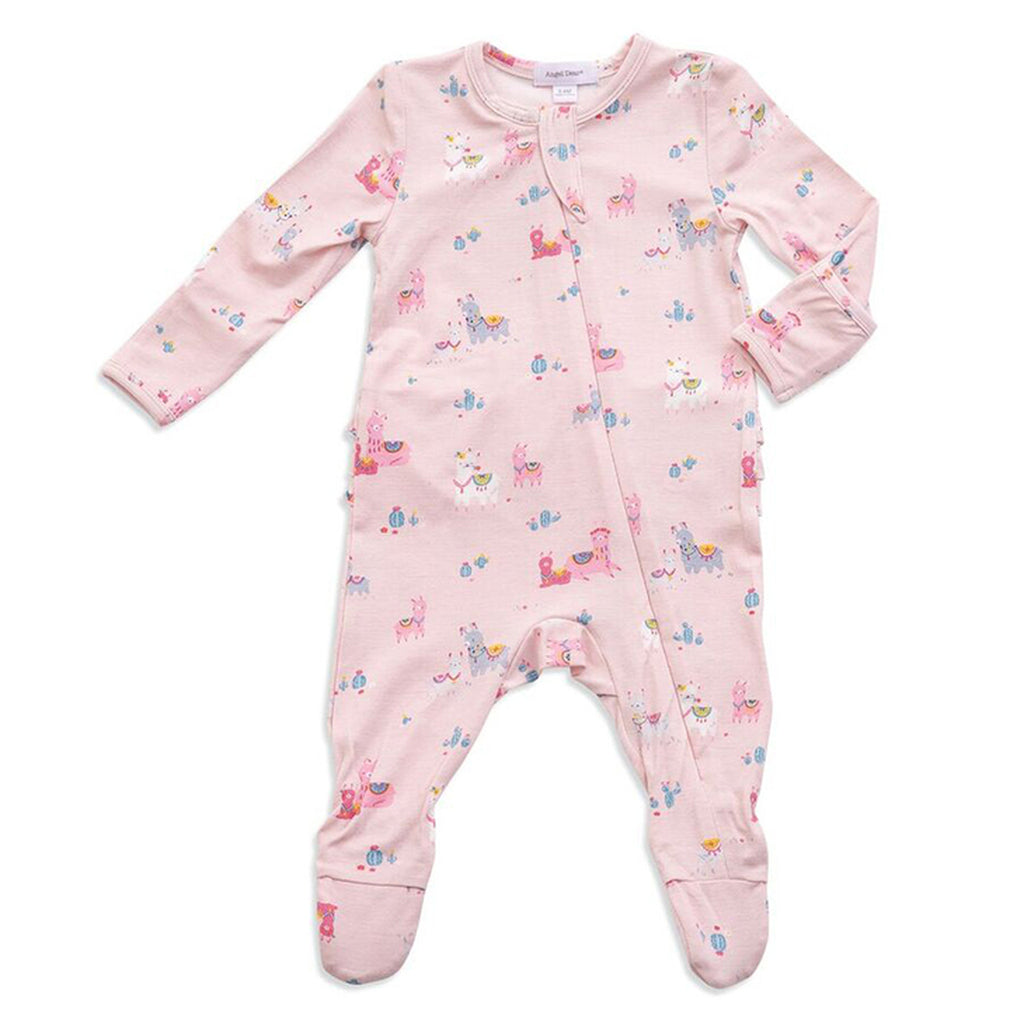 Llama Ruffle Zipper Footie - Pink - Angel Dear - joannas-cuties