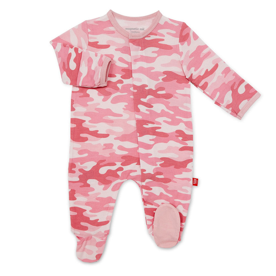 Pink Camo Chic Modal Magnetic Footie - Magnetic Me - joannas-cuties