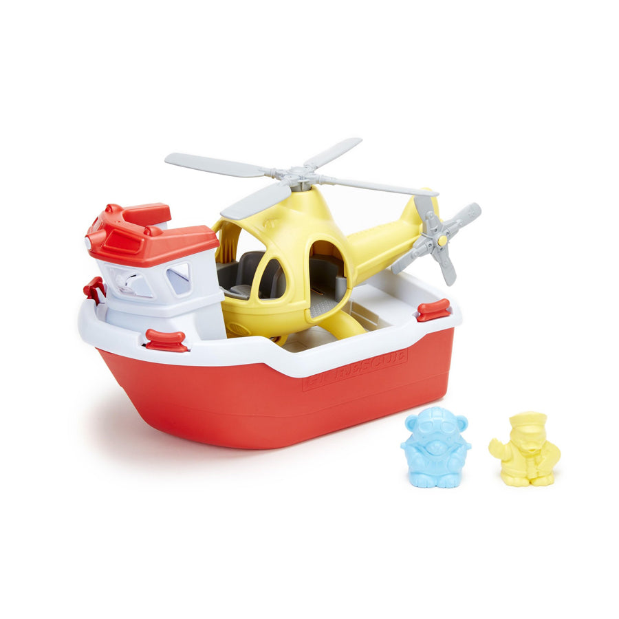 Rescue Boat & Helicopter-Green Toys-Joanna's Cuties