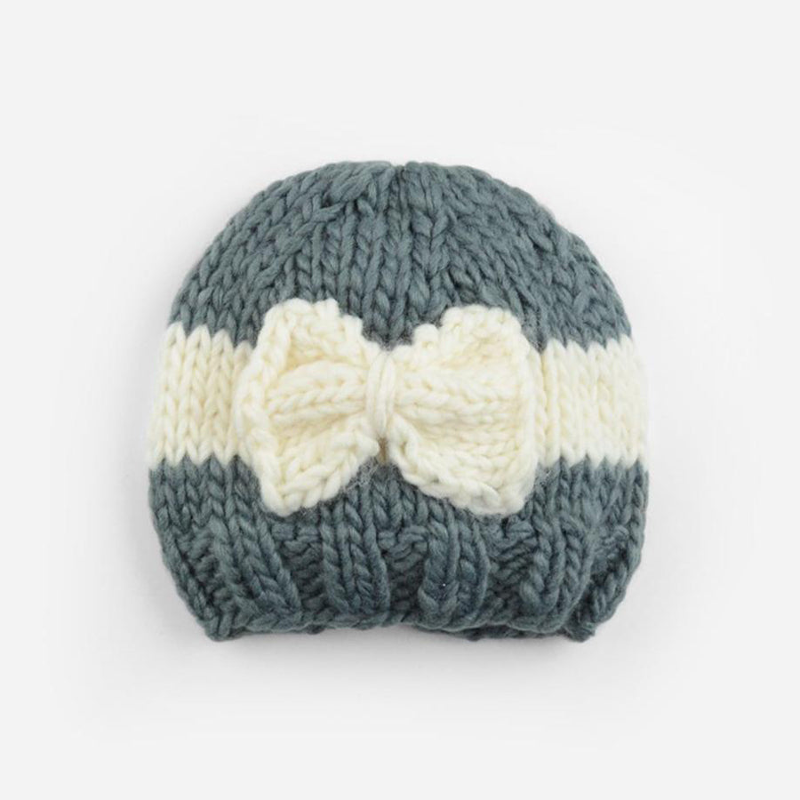 Sabrina Bow Knit Hat - Grey/Cream - The Blueberry Hill - joannas-cuties