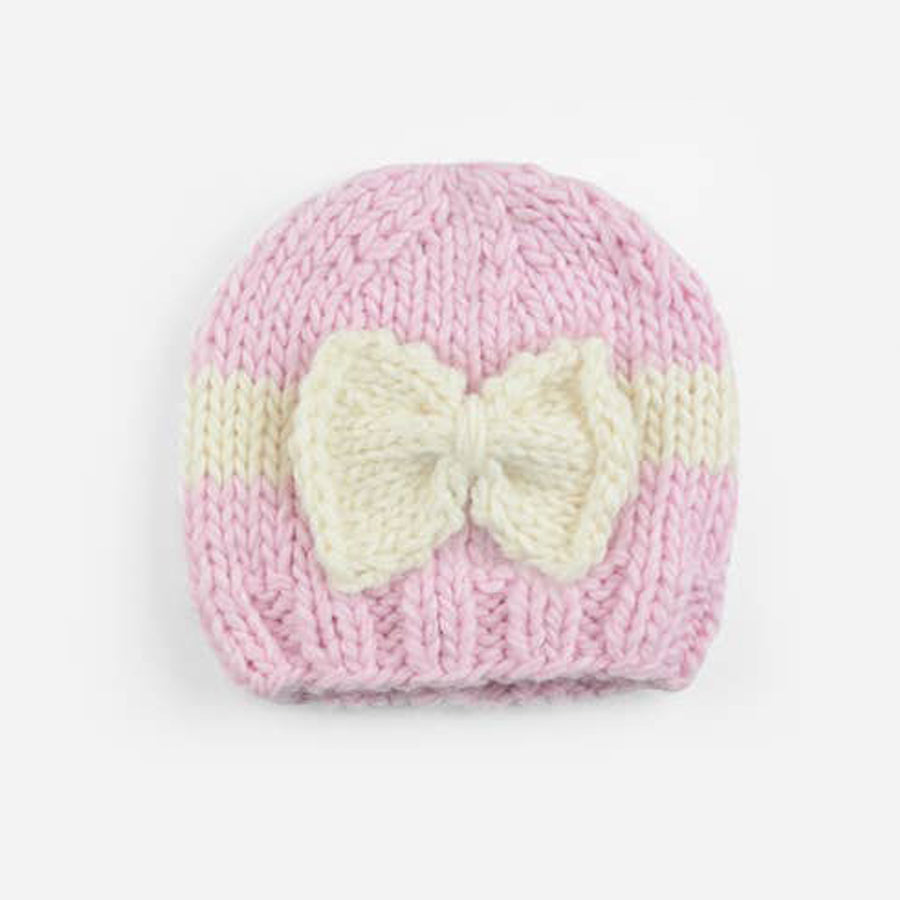 Sabrina Bow Knit Hat, Pink / Cream - The Blueberry Hill - joannas-cuties
