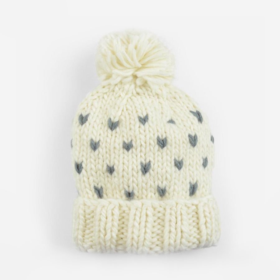 Sawyer Tiny Hearts Beanie - Cream/Grey-The Blueberry Hill-Joanna's Cuties