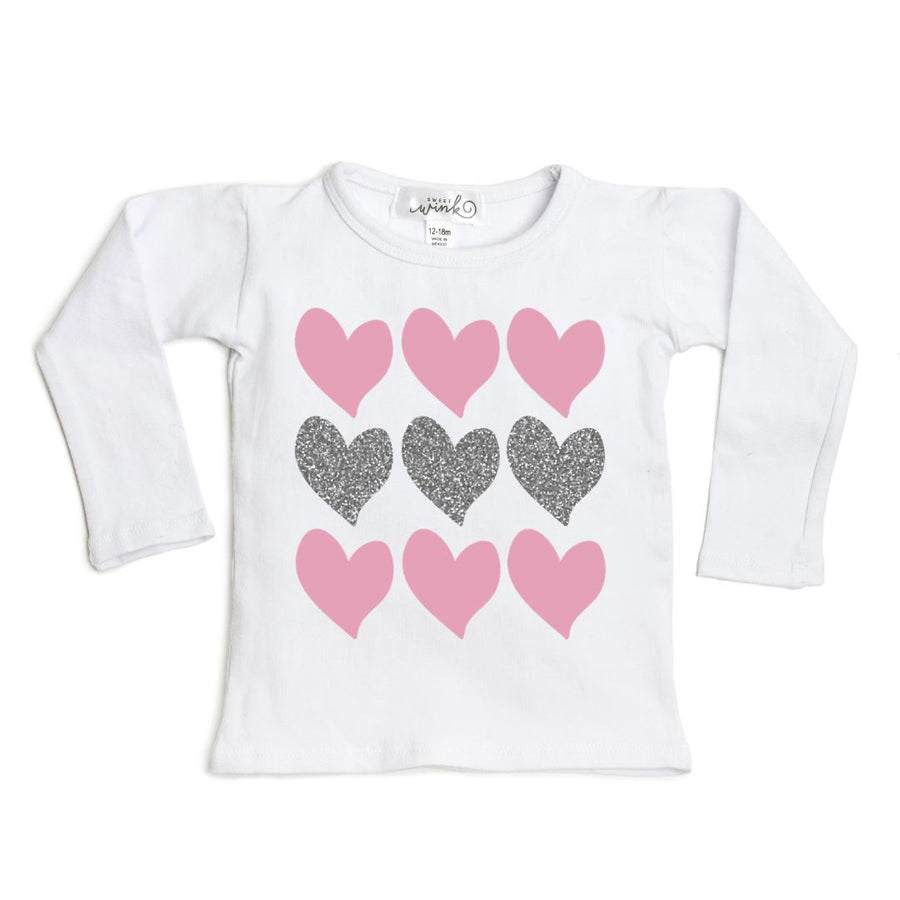 Triple Heart L/S Shirt - White-Sweet Wink-Joanna's Cuties