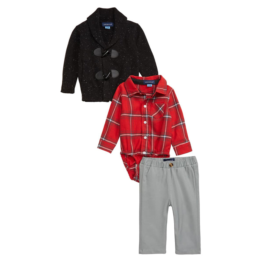 Toggle Knit Cardigan, Plaid Bodysuit & Pants Set - Andy & Evan - joannas-cuties