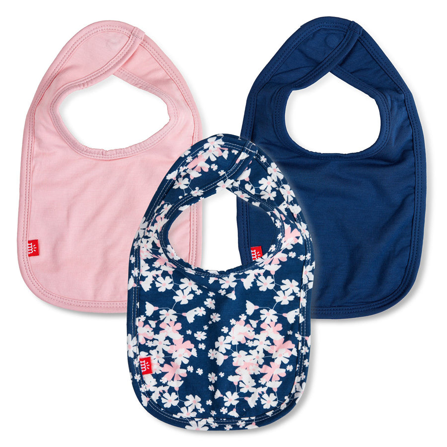 Baby One Size 3-Pack Floral Aberdeen Bibs in Navy/Pink-Magnetic Me-Joanna's Cuties