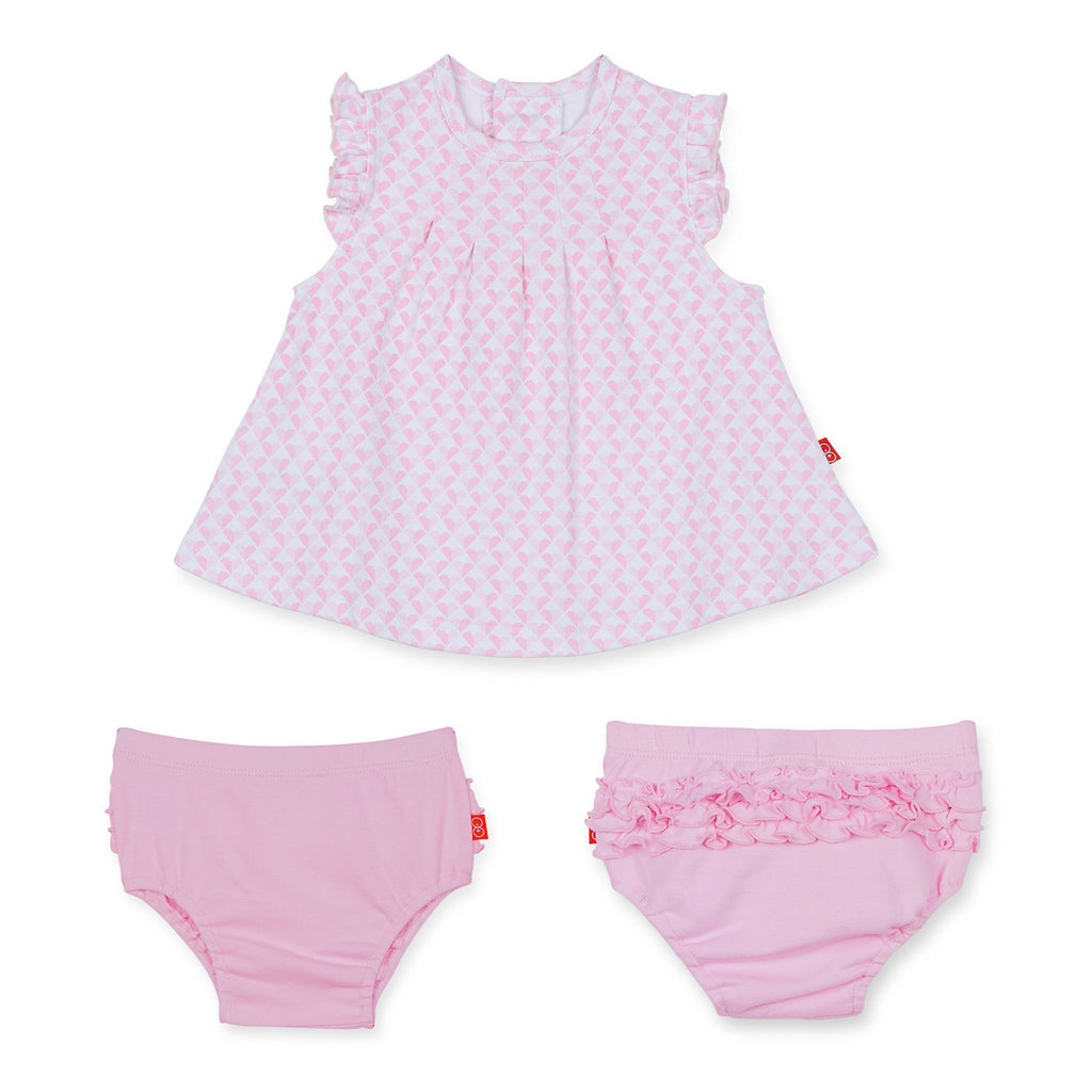 All Heart Cotton Magnetic Bubble Dress & Diaper Cover Set-Magnetic Me-joannas_cuties