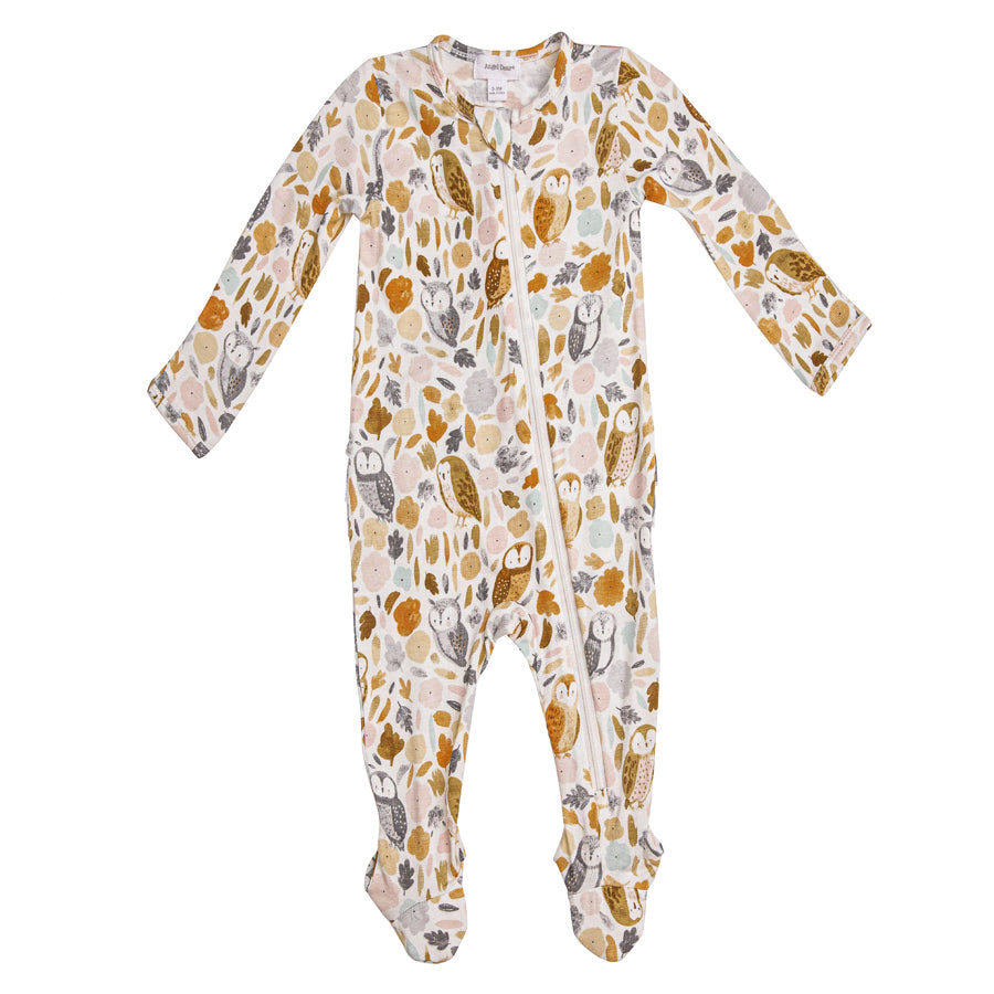 Autumn Owls Ruffle Back Zipper Footie-Angel Dear-Joanna's Cuties