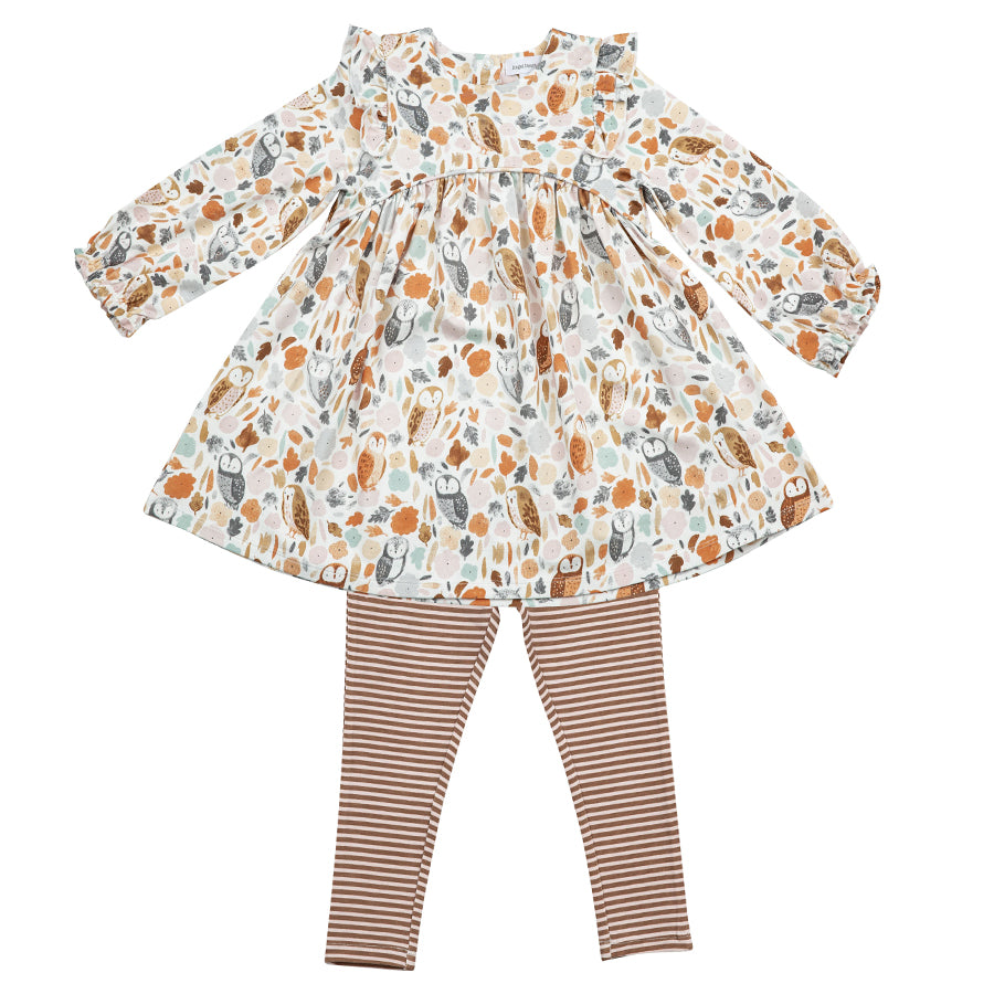 Autumn Owls Ruffle Dress And Legging Set-Angel Dear-Joanna's Cuties