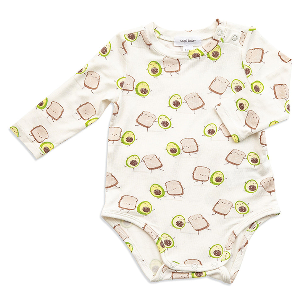 Long Sleeve Avocado Toast Bodysuit, Angel Dear - Joanna's Cuties