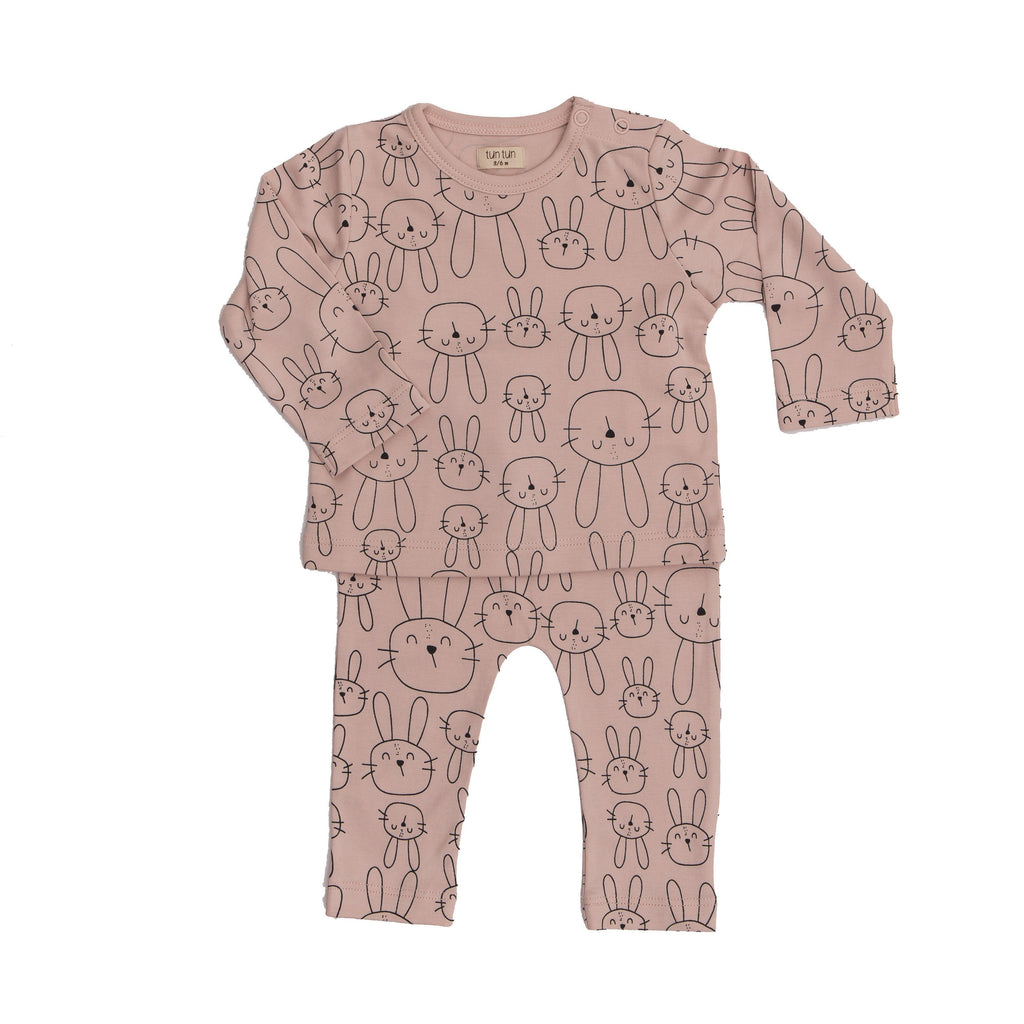 Baby 2 pc Set Bunny - Dusty Rose-Tun Tun-joannas_cuties