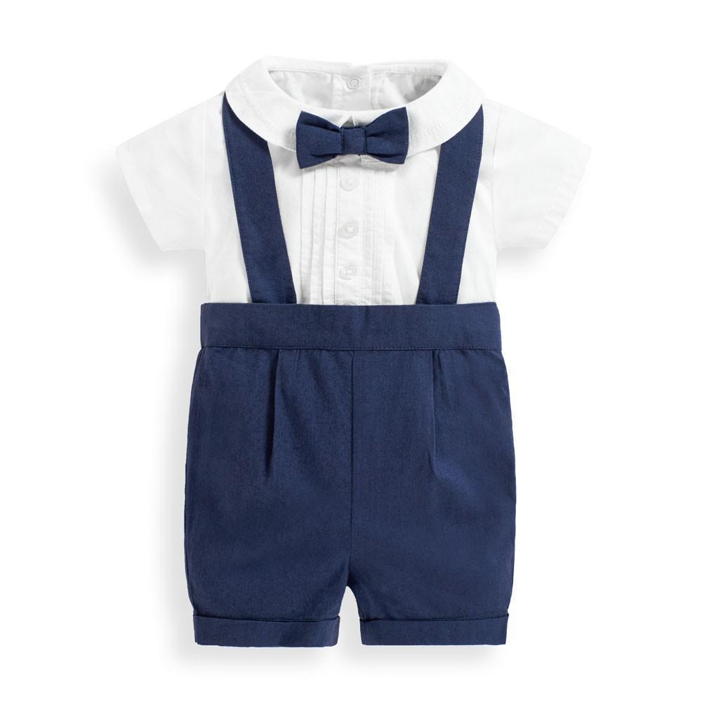 Baby 3-Piece Navy Shorts Set with Braces, JoJo Maman Bebe - Joanna's Cuties