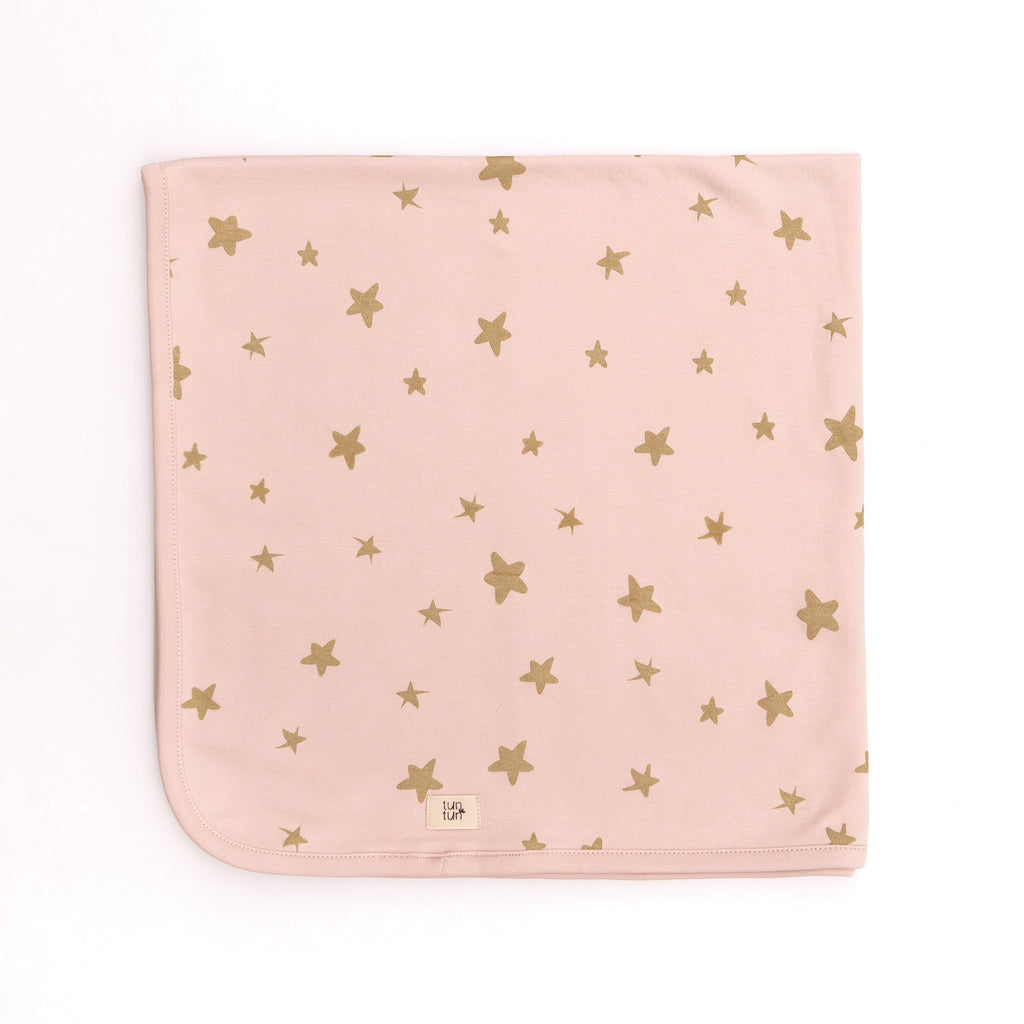Baby Blanket Stars  - Dusty Rose - Tun Tun - joannas-cuties