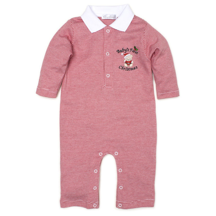 Baby's First Christmas Stripe Playsuit-Kissy Kissy-Joanna's Cuties