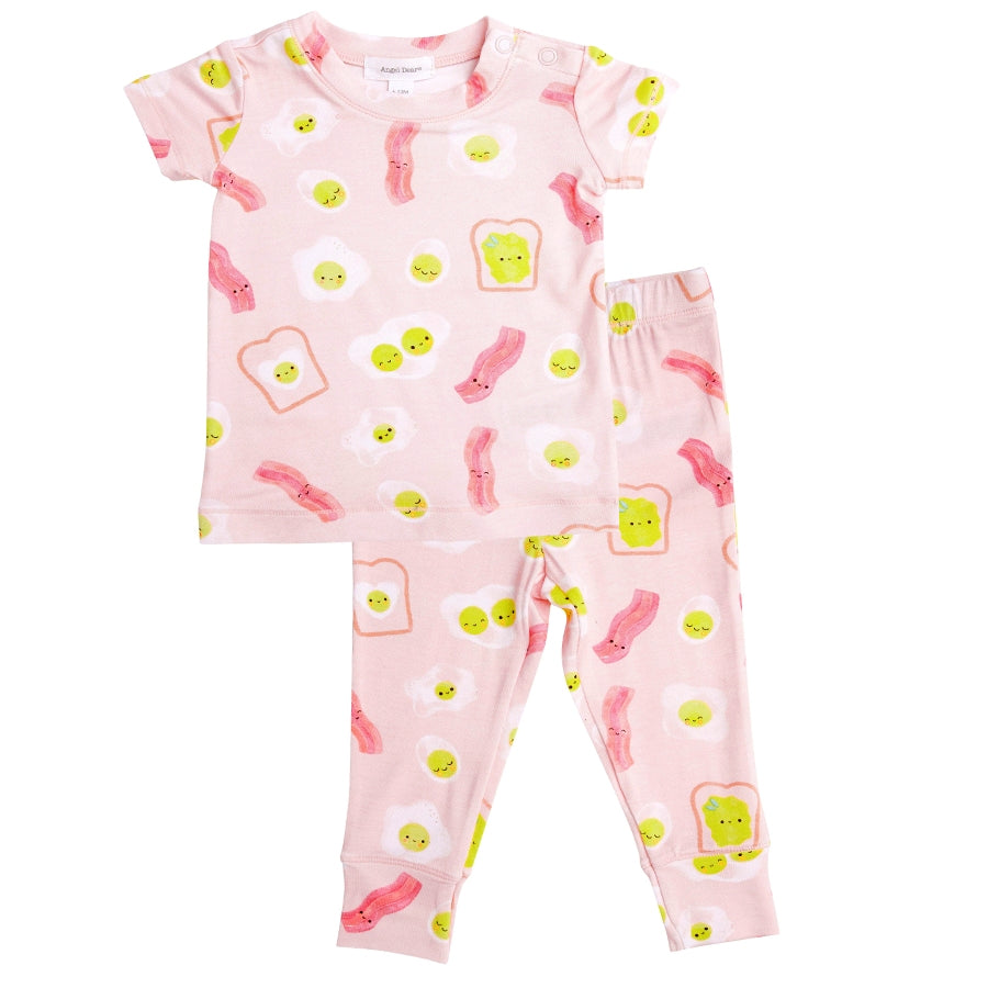 Bacon And Eggs Lounge Wear Set - Pink-Angel Dear-Joanna's Cuties