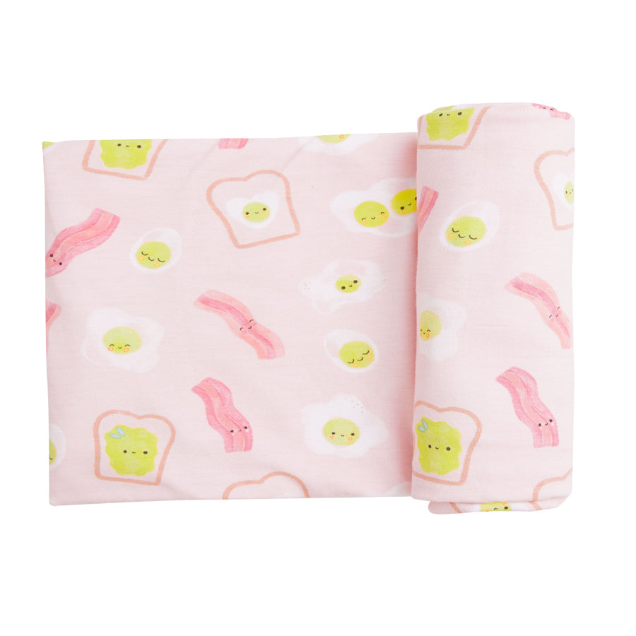 Bacon And Eggs Swaddle Blanket - Pink