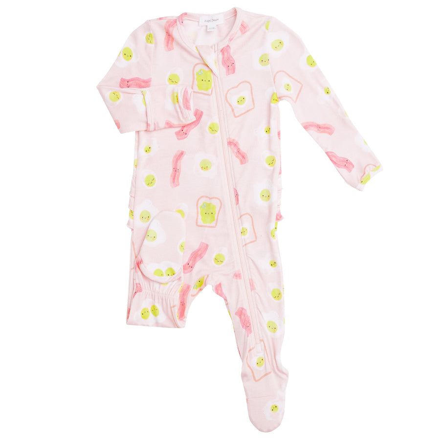 Bacon And Eggs Zipper Footie - Pink