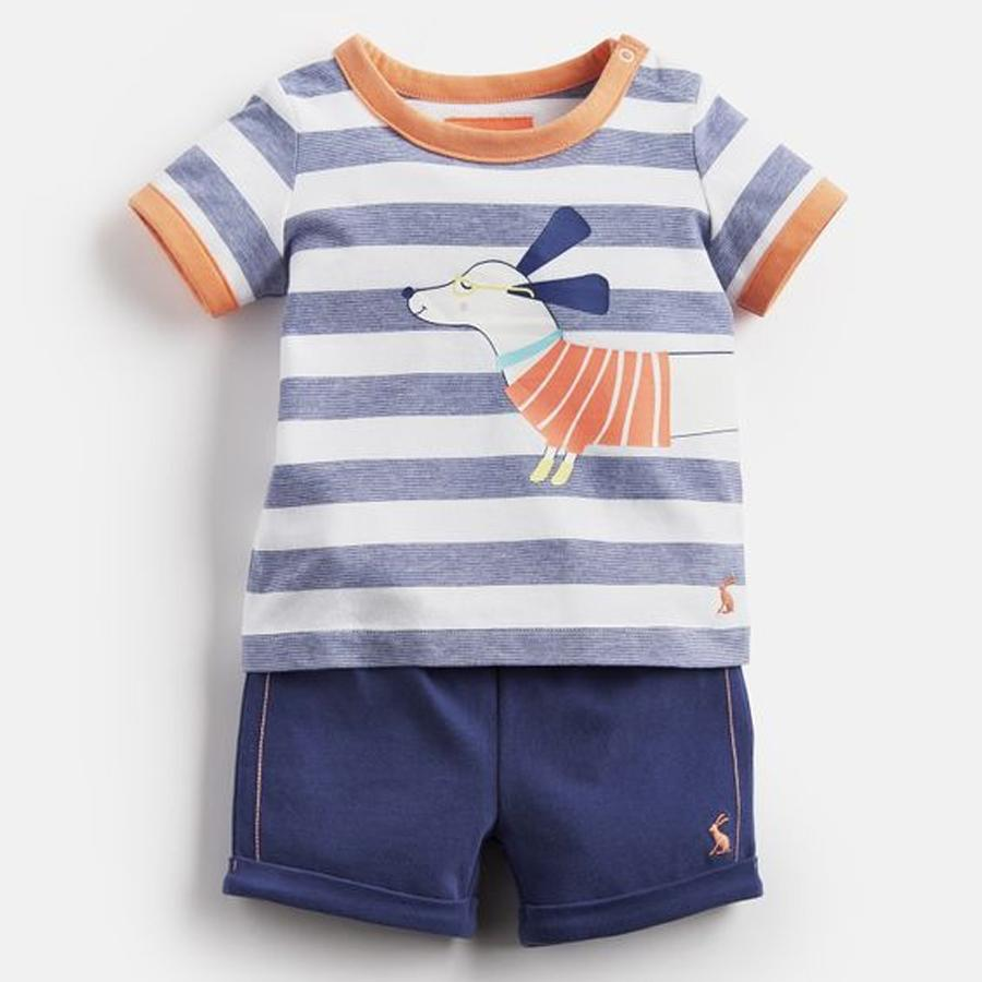 Barnacle Jersey Screenprinted T-Shirt And Shorts Set, Joules - Joanna's Cuties