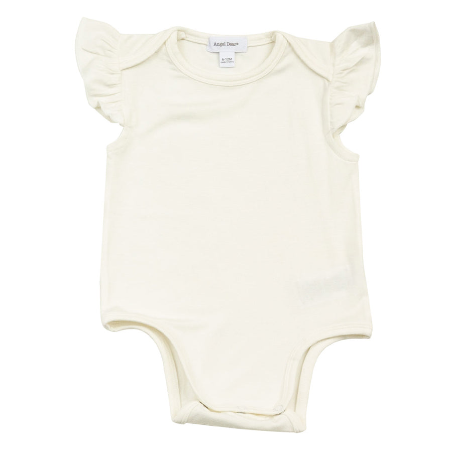 Basic Sleeveless Ruffle Onesie - Ivory-Angel Dear-Joanna's Cuties