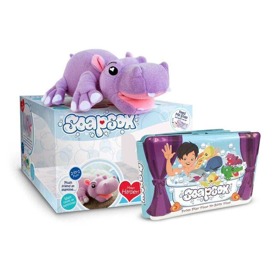 "Bath Scrub - Harper the Hippo 7"" - Gift Set-Soapsox-joannas_cuties"