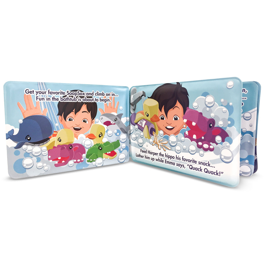 "Bath Scrub - Harper the Hippo 7"" - Gift Set - Soapsox - joannas-cuties"